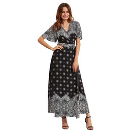 $enCountryForm.capitalKeyWord NZ - Women Long Dresses Ladies Beach Skirt Strappy Dresses Sexy Deep V Collar Split Skirt Speaker Long Sleeve Mopping Printing Mermaid Skirt 6