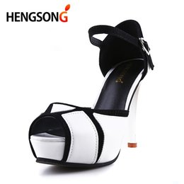 $enCountryForm.capitalKeyWord NZ - Dress Shoes Hengsong Wedding Party Women 8cm High-heel Pumps Fish Mouth With Color Block Thin Heels Buckle Strap Female Sandals