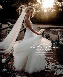 $enCountryForm.capitalKeyWord UK - Romantic 3D Floral Plus Size Wedding Dresses 2020 Illusion V Neck Country Beach Hippie Wedding Bridal Gowns Backless Cheap Vestido De Novia