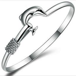 $enCountryForm.capitalKeyWord NZ - 925 Silver Bracelets Women Bracelet Bangles Dolphin Charm Bracelet Ladies Lady Bangle Fashion Accessories Christmas Gift Jewelry New