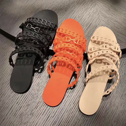 Chains designs online shopping - woman Designer sandals Chaine d Ancre chain design slippers jelly rubber chaine rivage sandals Beach Flip Flops ccolor