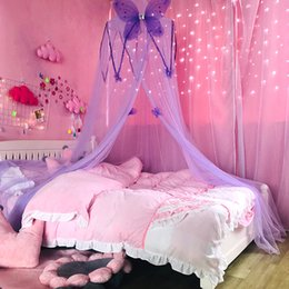 Baby Bedding Kids Room Bedding Mosquito Net Romantic Round Bed Mosquito Net Bed Cover Hung Dome Bed Canopy Long Performance Life Crib Netting