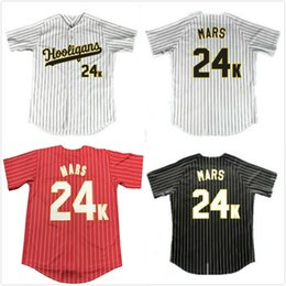 eacd2c9ff Bruno Mars 24K Hooligans Baseball Jerseys Red Black White Stripe Doo-Wops  Singers 100% Stiched For Men's Women Youth Movie baseball shirts