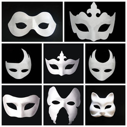 $enCountryForm.capitalKeyWord Australia - Makeup Dance White Embryo Mould Painting Handmade Mask Pulp Festival crown Mask Halloween white face mask T9I0078