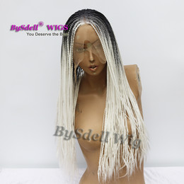 $enCountryForm.capitalKeyWord Australia - hot sale beauty African American braid hairstyle wig dark grey roots ombre Snow White color hair lace front wigs for black women