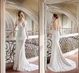 $enCountryForm.capitalKeyWord Australia - Romantic White Elegant Lace Mermaid Wedding Dresses 2019 Designer Sheer Long Sleeves Sexy Backless Bridal Gowns Custom Made
