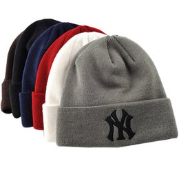 Beanies For Winter Australia - New Winter Warm Knitted Hat NY Letters Embroidered Beanie For Unisex Fashion Outdoor skiing Caps DHL Free
