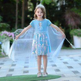 neck frock dresses UK - Frozen Costume For Girl Sequins Lace Dresses 2020 Summer Snow Queen Elza Children Up Disguise Fantasy Frock Children Graduation Tunic