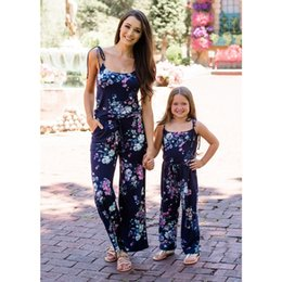 Jumpsuit matching online shopping - Mommy And Me Clothes Europe And America Summer New Mom Daughter Deep V Straps Jumpsuit Parent Child Wear Family Matching ClothesMX190919