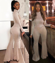 turtleneck jumpsuit long sleeve 2019 - Turtleneck Long Sleeve Jumpsuit Women Romper Fitness Solid Playsuits Wide Leg Summer One Piece Oversized Women Clothing