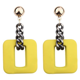square resin earrings Australia - new high-grade Fashion resin chain Drop Earrings For Women Jewelry Brand geometric round and Square alloy Dangle Earrings-P