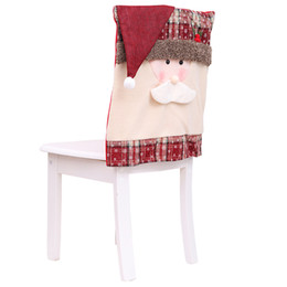 santa claus chair covers Australia - Christmas Chair Cover Snowman Santa Claus Xmas Dining Dinner Table Chair Back Covers Decoration Ornaments