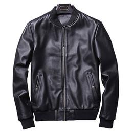 2018 moda outono jaqueta de couro real dos homens clássico estilo bomber motocicleta jaqueta de couro genuíno dos homens de pele de carneiro preto novo em Promoção