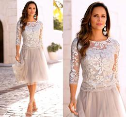 $enCountryForm.capitalKeyWord NZ - Modest Short Mother Of The Bride Dresses Lace Tulle Knee Length 3 4 Long Sleeves Mother Bride Dresses Short Prom Dresses BA4978