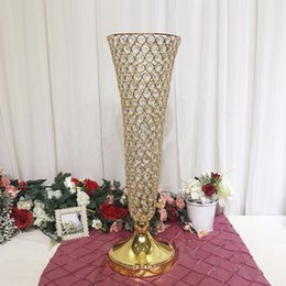 "$enCountryForm.capitalKeyWord Australia - 10pcs lot 22.83"" tall Gold Silver color crystal beaded trumpet vase wedding centerpiece crystal flower stand"