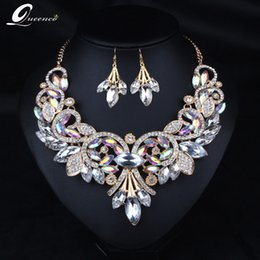 $enCountryForm.capitalKeyWord Australia - jewelry sets 2019 Indian Rhinestone Bridal Jewelry Set Wedding Prom Party Accessories Gold Color Necklace Black Earring Set for Brides Women
