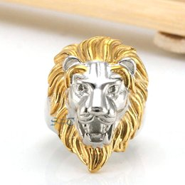 Stainless Steel Indian Head Rings Australia - Men's Huge Gold Silver Tone Lion 316L Stainless Steel Biker Ring King Of Animal Head Face Leo Punk Fashion Jewelry