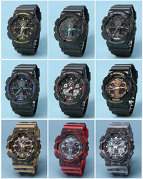 Wholesale Mens G Sports GA100 Luxury Watches LED Waterproof Digital S Shock Men Watch All Pointers Work Auto Light with Box Drop Ship