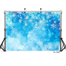 Spray photography online shopping - Blue Gradient Snowflake Photography Backdrop for Christmas Vinyl Cloth Background for Children Baby Home Photoshoot Fond Photo