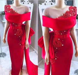 Nude viNtage loNg eveNiNg dress online shopping - 2019 african Elegant Red Off The Shoulder Evening Dresses Sheath Lace Appliques Formal Party Gowns Sheer Neck bow sash Prom Dresses