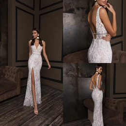 Wedding dress front design lace online shopping - Luxury Crystal Design Mermaid Wedding Dresses Plus Size V Neck Backless Bridal Gowns Front Slit Custom Lace Wedding Dress