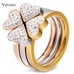 Nickle Free Rings Australia - 316L Stainless Steel Jewelry Unique 3in1 Heart Rings For Women Surgical Steel Nickle Free CZ Crystal Flower rings