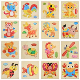 fruit toy puzzles Australia - Wholesale 3D Wooden Puzzle Toy Children Cartoon Animal Vehicle Fruit Jigsaw Baby Early Learning Intelligence Toys for kids Gift