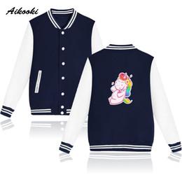 Cool Sweatshirt Jackets Canada - Hot Unicorn Cartoon Kawaii Jackets New Autumn Harajuku Uniform Jacket Men Women Cool Casual Baseball Sweatshirt Jackets