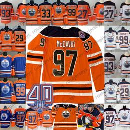 897db70a5 2019 Edmonton Oilers 40th Blue Jersey  97 Connor McDavid 99 Wayne Gretzky  27 Milan Lucic Draisaitl Talbot White Orange Kid Men Youth Women