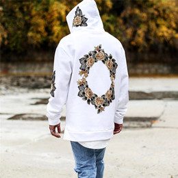 8dbdff52a2 New Design Flower Embroidery Hoodies Men Hip Hop Side Split hoody  Sweatshirts Hooded Pullover Long Sleeve Jumper Tops L140