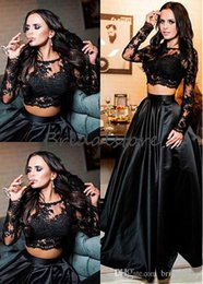 Short Red Illusion Neckline Dress Australia - Long Sleeves Black 2 Piece Prom Dresses Jewel Neckline Illusion Lace Plus Size Formal Evening Gowns Glamour Graduation Special Occasion Gown