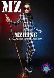 $enCountryForm.capitalKeyWord Australia - Korean Slim high-grade wool black white gray plaid leather collar suit host dress male singer dj costume nightclub men's suit