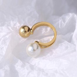 Beads finger ring online shopping - Top brass material Opening Ring Mid Finger Knuckle Rings with pearl beads spring combination Rings Geometry Style Jewelry drop shipping PS64