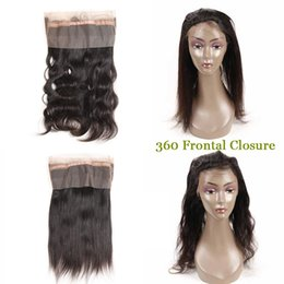 18 human hair NZ - Brazilian Indian peruvian Virgin Hair Body Wave Straight 360 Lace Frontal Human Hair Natural Black 360 Lace Frontal Closure 10-18 inch