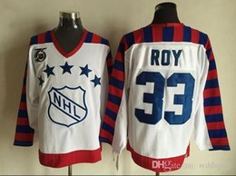 stitched patch jersey hockey UK - 1992 All-Star Ice Hockey Jerseys Cheap 33 Patrick Roy 75th Anniversary Patch Retro Vintage CCM Authentic Stitched Jerseys Mix Order !