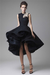 krikor jabotian red carpet dresses UK - Krikor Jabotian Prom Dresses Hand Made Flower Jewel Neck Dark Navy Evening Dress Knee Length Party Gown Sleeveless Ball gown Formal Dress