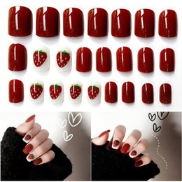 patterned nail tips Australia - 24 Pcs Fashion Acrylic Fake Nails Tips Strawberry Pattern Decorated False Nails & 1*Double-sided Sticker Nail Art Accessories