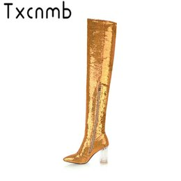 Wholesale TXCNMB Boots Women Over The Knee Boots Sequins PU High Heels Pointed Toe Autumn Spring Zip Shoes Woman Size