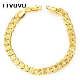 Cuban Chain 7mm Australia - TTVOVO Bracelet Big Chunky 7MM 21CM Curb Cuban Link Snake Chain Hand Bangle Gold Color Men Gifts Rock Hip Hop Jewelry Bracelets