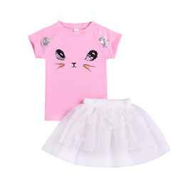 unisex cat tee shirt UK - kids summer lovely cat boutique dresses t-shirt+skirt kids girl party clothing Clothes Cotton Wholesale Kid Children Clothing Tee Outfits