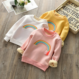 Girls Tassel Shirt Australia - Cute Rainbow Embroidery Baby Girls Sweatshirt Velvet Blouse Girls Tops Cotton Children's Tassel T Shirt Clothing and Accessories