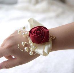 $enCountryForm.capitalKeyWord Australia - Wedding Prom Corsage Bride Wrist Flower Ceremony Corsages Party Pearl Bracelet Handmade Bridesmaid Hand Flowers GB295