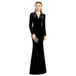eff7aadafb Long Sleeves Evening Gowns Formal Dresses Mermaid V Neck Slim Evening Dress  with Crystal Beads Black