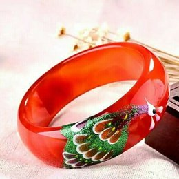 Snake Paintings Australia - Natural Red Agate Color Painting Wide Bracelet Fashion Temperament Jewelry Gems Accessories Gifts Wholesale