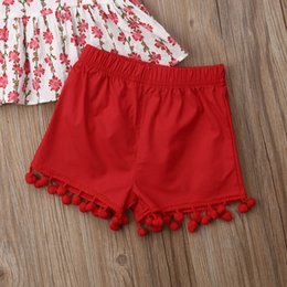 $enCountryForm.capitalKeyWord Australia - Summer Children Clothing Casual Toddler Kids Baby Girls Sleeveless Floral Printed Sling T-shirt Tops+Tassel Shorts 2PCS Outfits