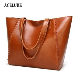 Wholesale Acelure Large capacity Women s Handbag Casual Totes Women Bag Simple Shopping Big Shoulder Bag For Women Classic Oil Wax Leather Q190428