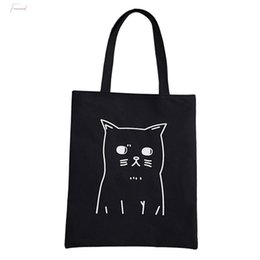 cute canvas handbags UK - Canvas Tote For Women Cartoon Cat Printed Shoulder Bags Cute Shopping Bags Female Large Capacity Handbag T10