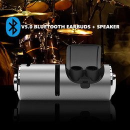 $enCountryForm.capitalKeyWord Australia - 2 in 1 TWS Bluetooth 5.0 Earbuds Stereo Mini Earphones In-Ear Headsets Wireless Earphones Portable Bluetooth Speaker with Charging Box