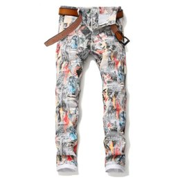 draw flags UK - 2020 Autumn Men's English flag beauty girl 3D printed jeans Slim colored drawing painted stretch Denim pants Man trousers w975