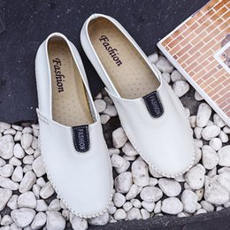 Wholesale Men s Big Size Business Leather Shoes Non Slip Casual Solid Flat White Shoes Loafers Sneakers Mesh Driving Casual